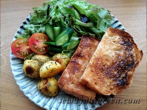 畑の野菜のサラダと自家製パン
