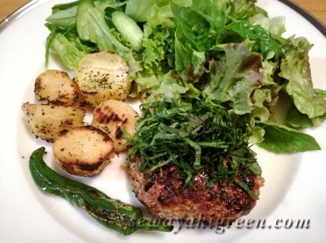 豚肉ハンバーグ畑との野菜サラダ